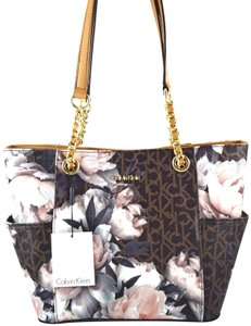 Calvin Klein Tote in brown pink peony