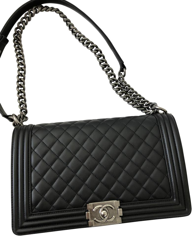 527c29d0a892 Chanel Boy Box Quilted New Medium Size Black Leather Shoulder Bag ...