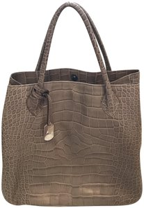 Furla Croc Print Satchel in GREY