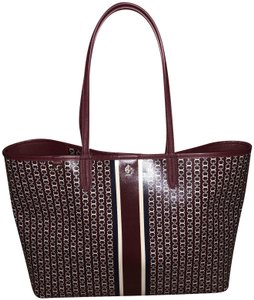 Tory Burch Large Travel Laptop Gemini Link Chain Print Tote in Burgundy