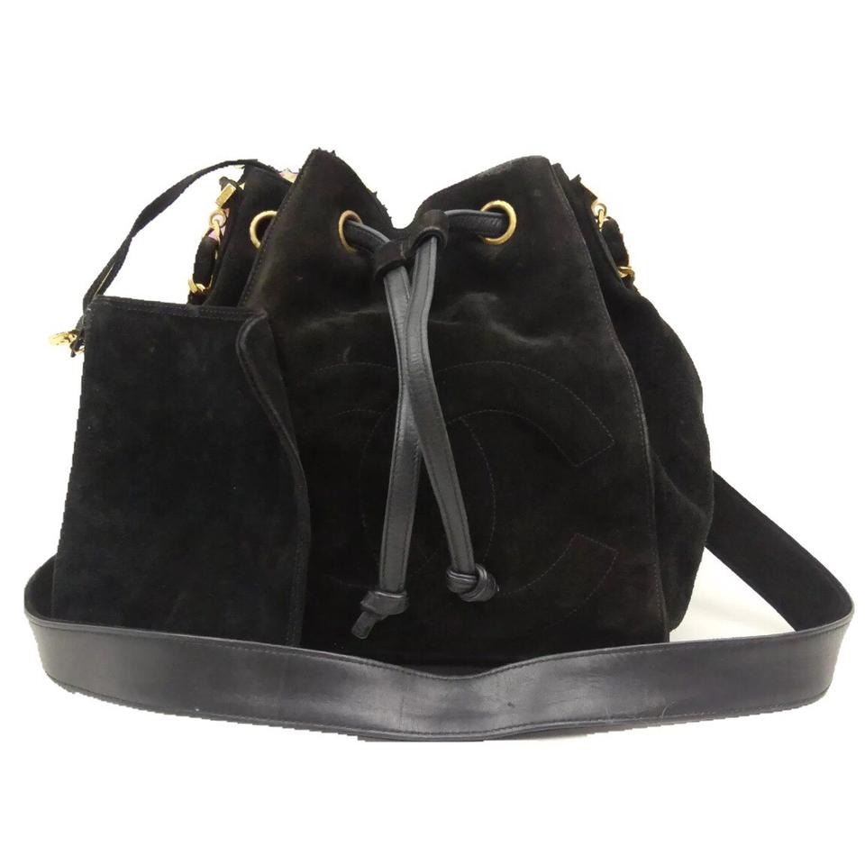 Chanel Drawstring Vintage Chain Bucket Black Suede Leather Shoulder ... 021c68b634297