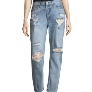 Free People Straight Leg Jeans-Distressed