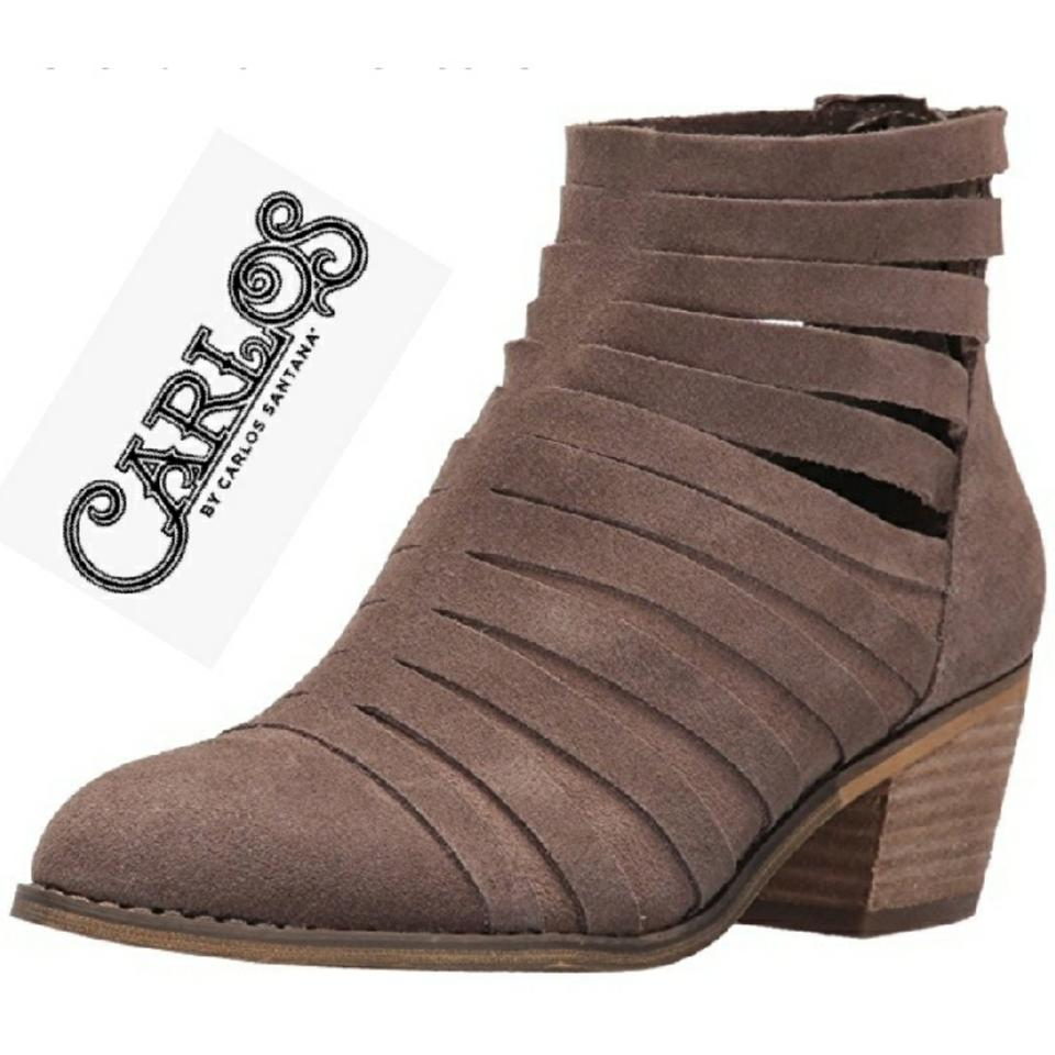 7cf8220b7893 Carlos by Carlos Santana Strappy Taupe Genuine Suede Boots Booties ...