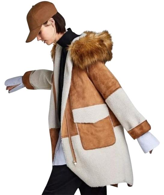 Item - Brown Faux Suede Shearling with Faux Hood Coat Size 2 (XS)