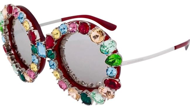 Item - Multi Color Crystals Oversized Round Frame Sunglasses