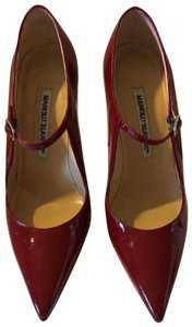 Manolo Blahnik Leather Mary Jane Red Pumps