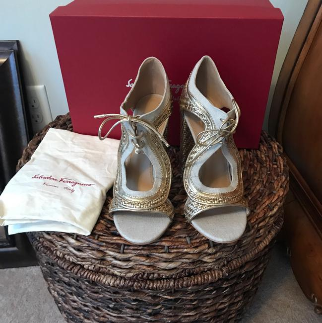 Item - Gold/Natural Twist Edith Lace-up Leather Booties Pumps Size US 8 Regular (M, B)