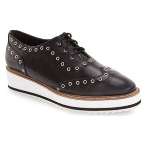 Shellys London Studded Oxford Loafers black and white Platforms