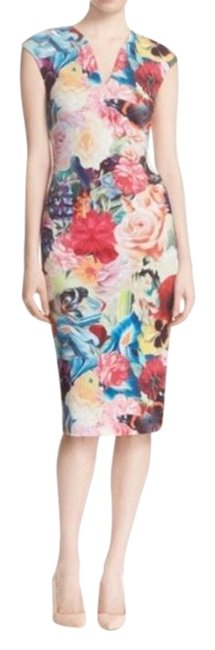 Item - Multicolor Odeela' Floral Print Body-con Mid-length Work/Office Dress Size 0 (XS)