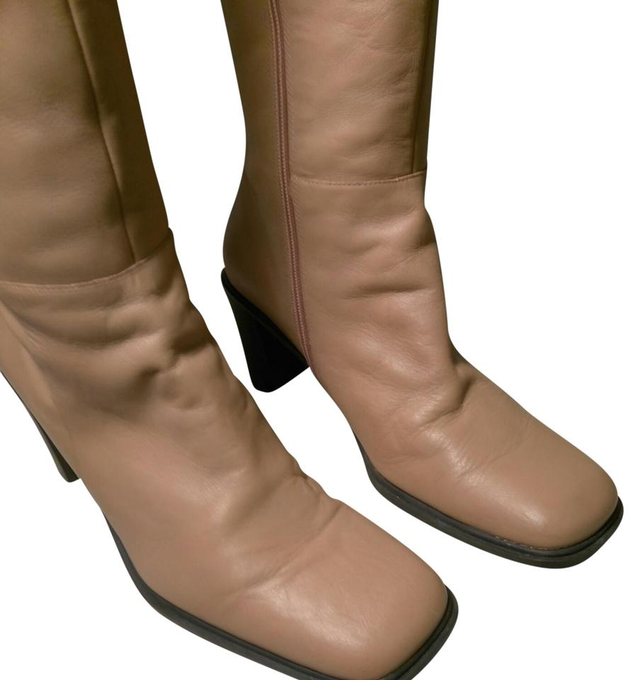 cf068cb4165 Naturalizer Camel Shade Colored Leather Knee High   Zipper Boots Booties