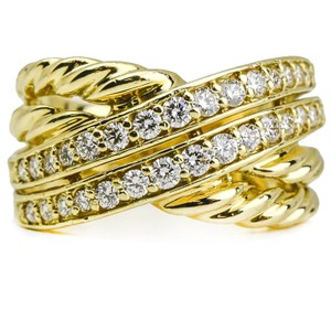 David Yurman David Yurman Crossover Wide Band Ring with Pave Diamonds in 18k Gold