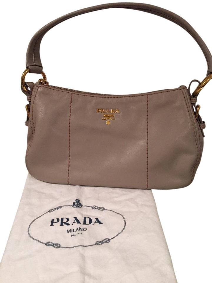 2de4213219 Prada Soft Handbag In Color Pomice Calf Leather Shoulder Bag - Tradesy