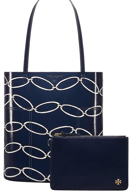 Item - T Block- Printed Medium Link Blue Black & White Crinkled Patent Leather Tote