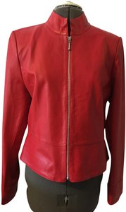 Austin Reed Front Zip Mandarin Collar Peplum Waist Polyester Lining Red Leather Jacket