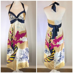 Blue Pink Gold Maxi Dress by Voom by Joy Han Summer Spring Halter Silk Date Night