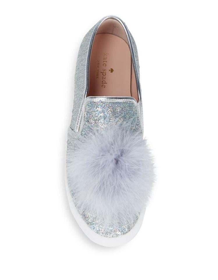 4afddc858180 Kate Spade Silver Latisa Sequin Feather Pom-pom Sneakers Flats Size ...