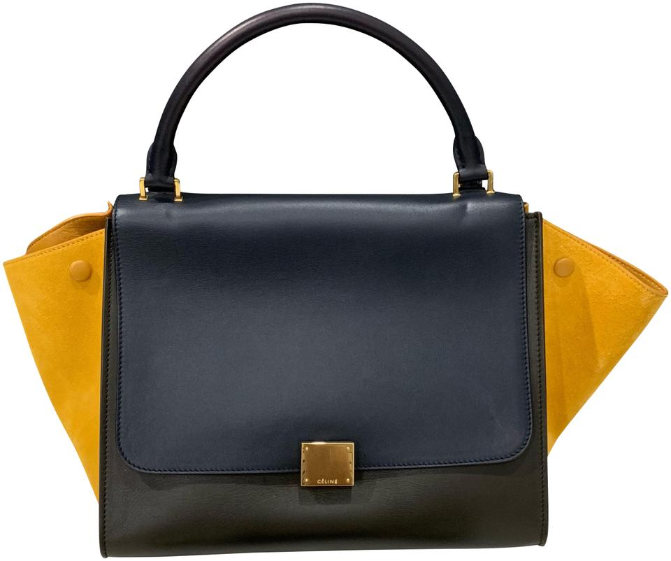 be3c7ed49c Céline Trapeze Tricolor Medium Navy Green Yellow Navy Green Yellow Leather  Shoulder Bag
