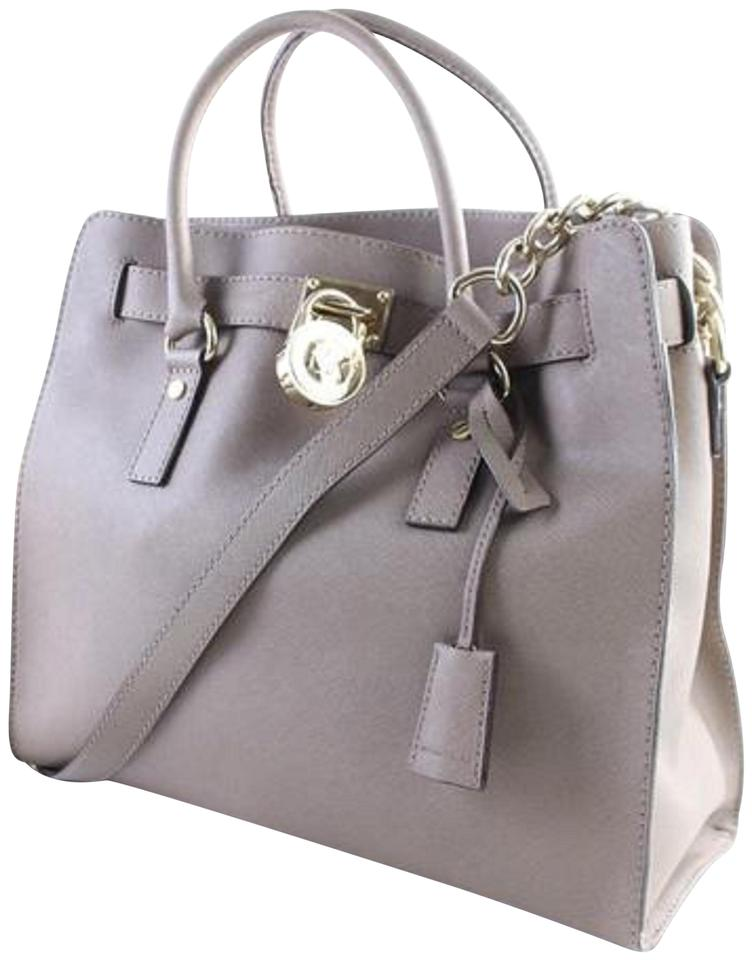 b14cdd518a2266 Michael Kors North South 2way Jet Set Hamilton Prada Saffiano Satchel in  Taupe Image 0 ...