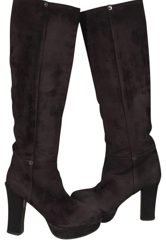 2f98bb68088 Prada Expresso Brown Leather Suede Knee High Boots/Booties Size EU 38  (Approx. US 8) Regular (M, B)