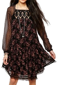 Free People short dress Longsleeve Lace Trim Floral Shift Ruffle on Tradesy