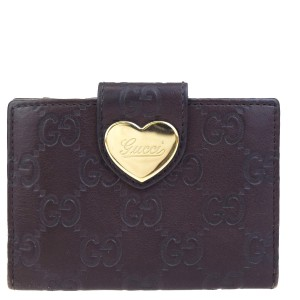 Gucci GUCCI Logos GG Pattern Heart Bifold Card Case Leather Brown Italy