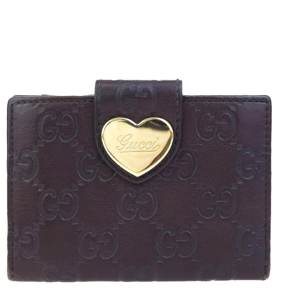 824ec2fd58 Gucci Brown Logos Gg Pattern Heart Bifold Card Case Leather Italy Wallet
