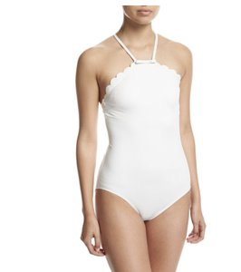 Kate Spade NWT KATE SPADE SCALLOPED HIGH NECK ONE PIECE SWIMSUIT WHITE M $127