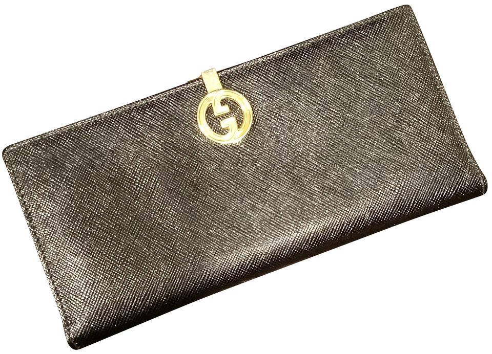 d3eea2eab38b Gucci Vintage Gucci Black Leather Wallet Clutch Checkbook Holder Image 0 ...