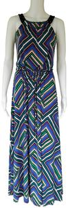 Multi-color Maxi Dress by Calvin Klein Maxi Drawstring Colorful Slinky