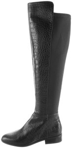 Michael Kors Embossed Leather Knee High Leather Croc Leather Black Boots