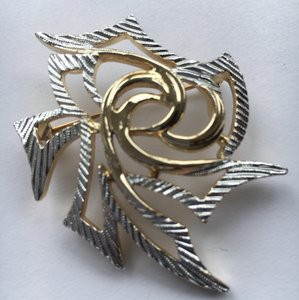 Sarah Coventry Abstract Gold Tone & Silver Etched Brooch