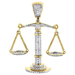 Jewelry For Less 10K Yellow Gold Lucky Libra Scale Diamond Pendant Mens Charm 0.55 Tcw