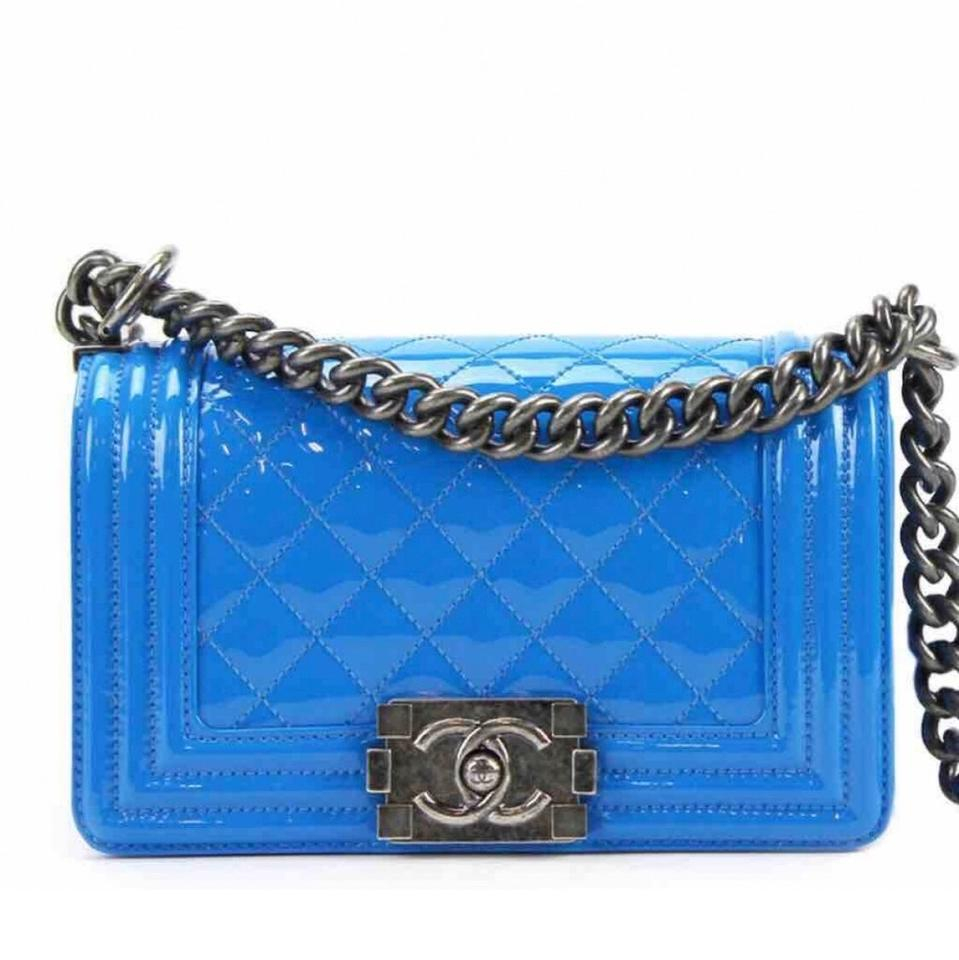 9086b278c796 Chanel Boy Mini Sky Leboy. Blue Patent Leather Cross Body Bag - Tradesy