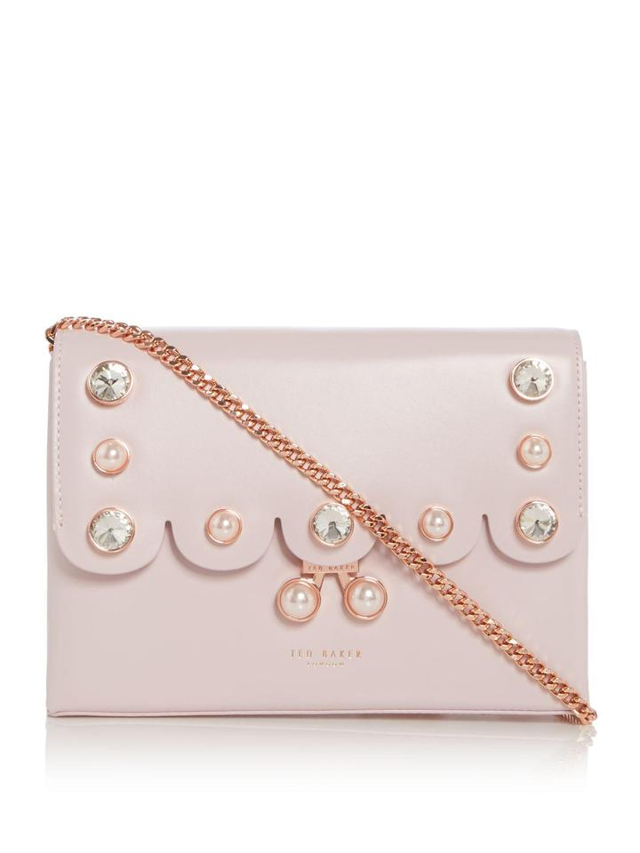 0dd3eeef758 Ted Baker Scalloped Pearl Detail Dusky Pink Leather Cross Body Bag ...