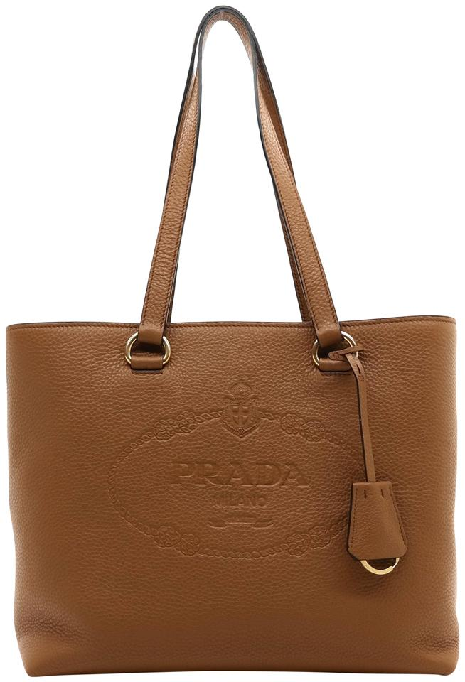 prada embossed logo brown leather tote tradesy