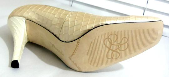 J. Renee Faux Leather Square Toe High Heel Croc Embossed Gold Formal