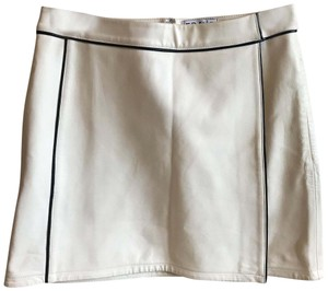FRAME Mini Skirt Cream Leather With Black Piping