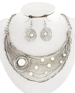 Silver and Cream Synthetic Pearl Necklace and Earrings
