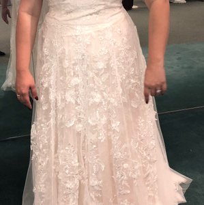 Melissa Sweet White/Blush Chiffon/Lace A-line Feminine Wedding Dress Size 12 (L)