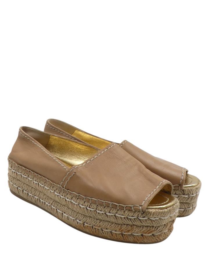 eb49260f408f Prada Tan Nude Leather Open Toe 8 38 Espadrille Flats Platforms Size ...