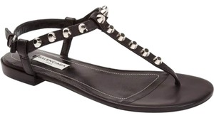 Balenciaga Studded Leather Thong Black Sandals