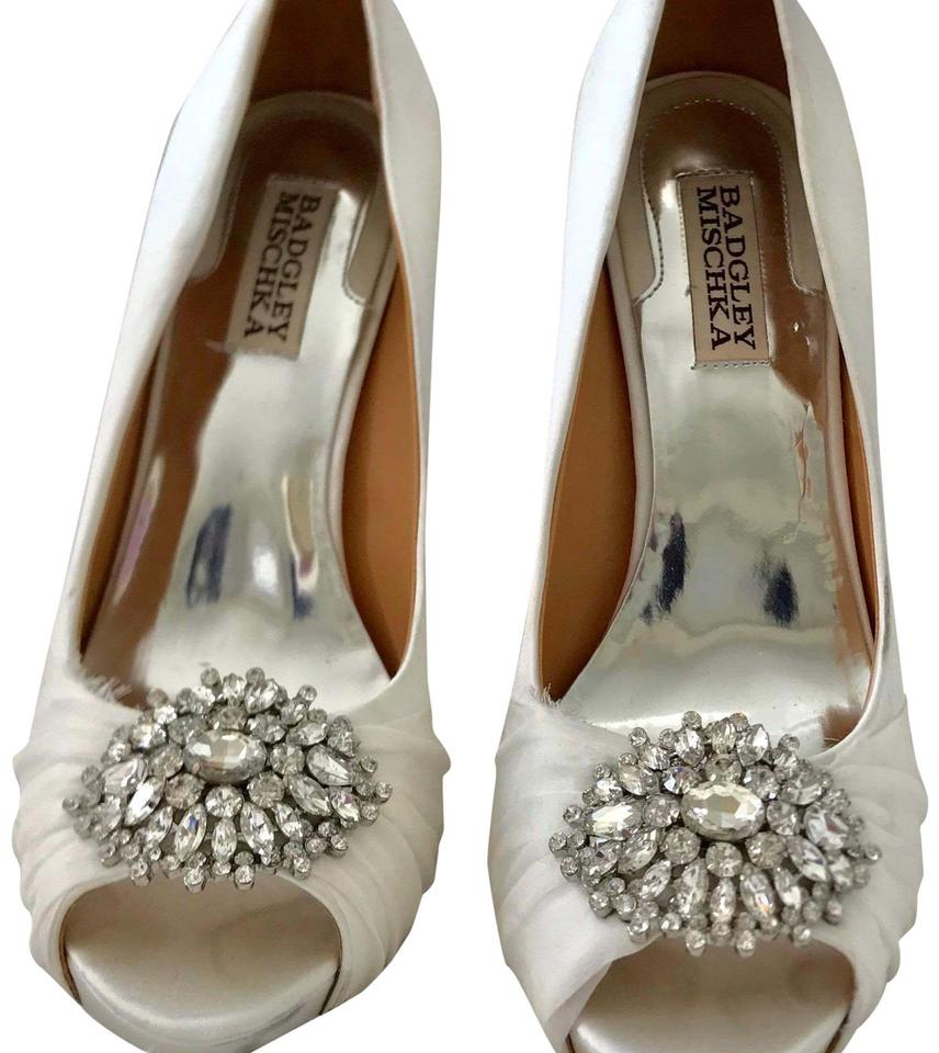 c6c6f5b0b37a Badgley Mischka White Satin Silk Chiffon Desi Women s Bridal Satin Silk  Pumps