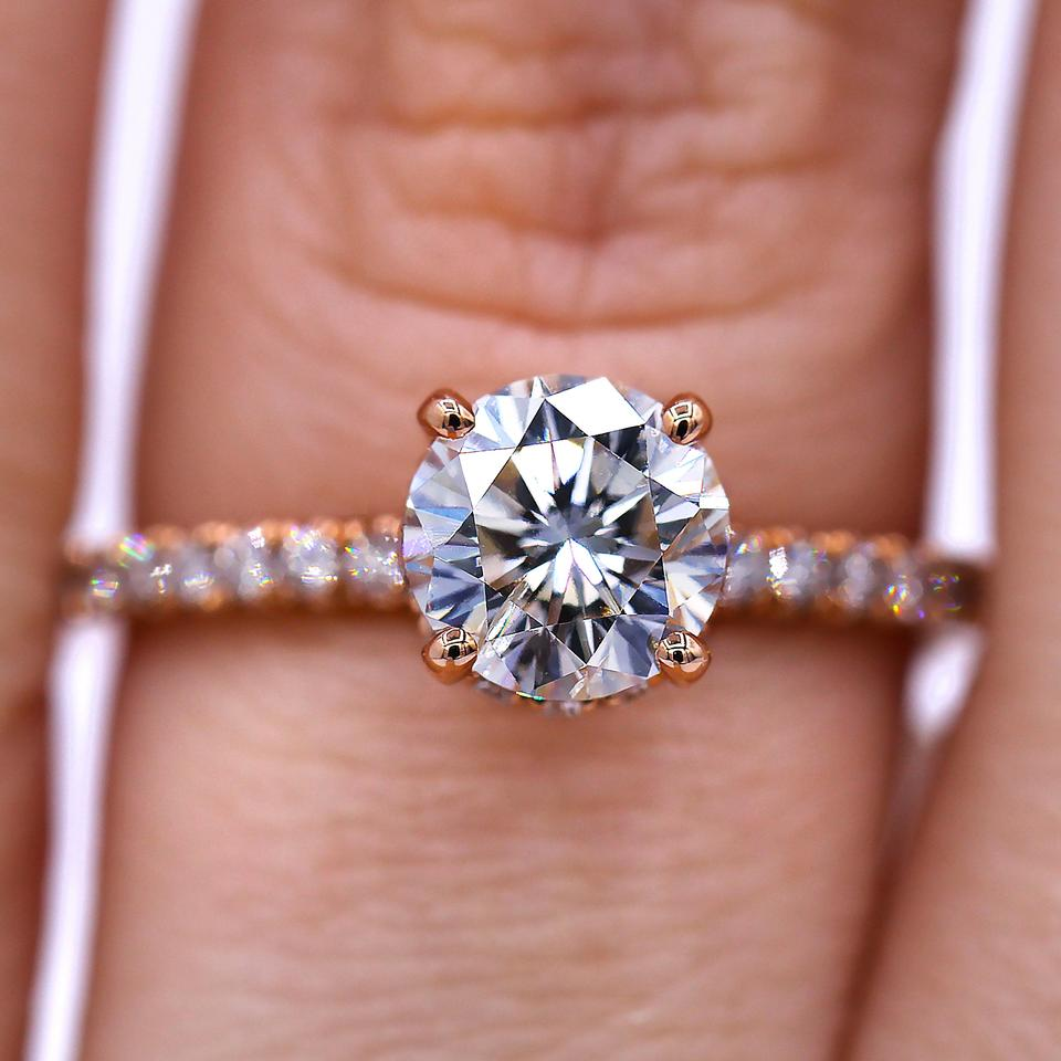 Elegant Rose Gold 1.20 Carat Round Cut Diamond Engagement Ring - Tradesy