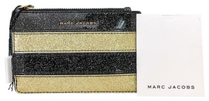 Marc Jacobs MARC JACOBS Black Gold Striped Glitter Coated Zip-Top Card Holder