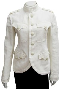 Jean-Paul Gaultier Linen Military Femme Embroidered ivory Blazer