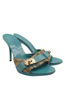 Gucci Canvas Monogram Leather Buckle Turquoise Mules