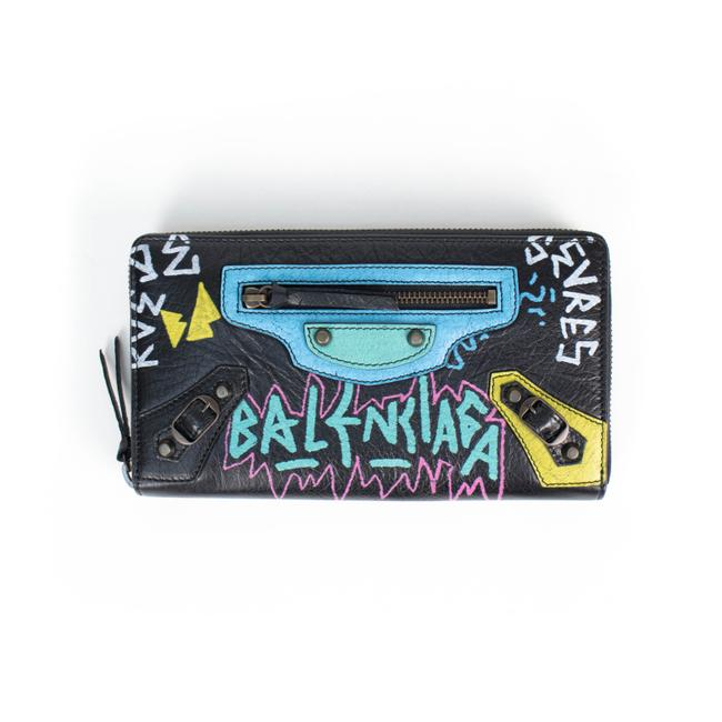 """Item - Graffiti """"Classic Money"""" Wallet with Design Multi-color Lambskin Leather Clutch"""