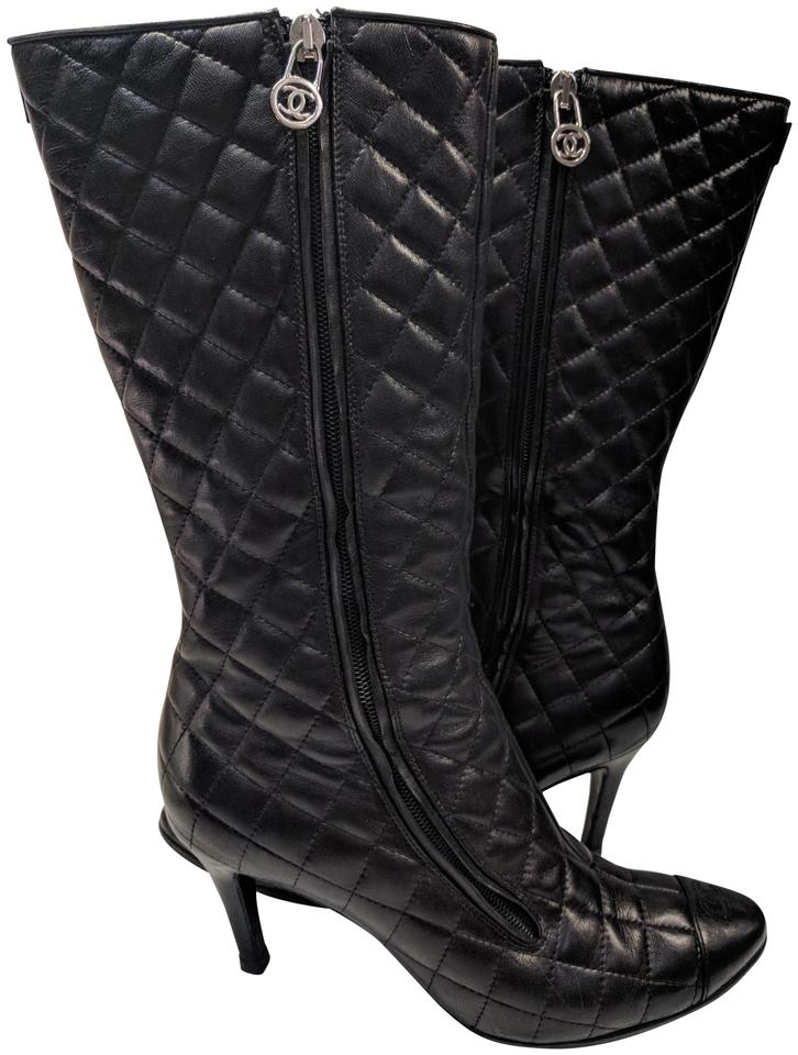 Chanel Black Quilted Leather Stiletto Bootsbooties Size Us 85