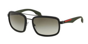 Prada New Prada Men Sunglasess PS52PS 1BO4M1 Black Frame Green Lens 57mm