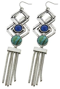 MIA Burnished Silver Tone Turquoise Acrylic Earrings
